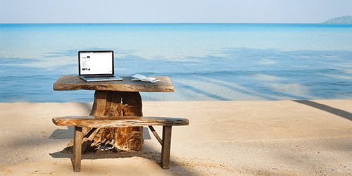 image of a desk on an island