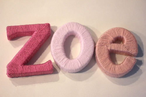 image of the name Zoe in wool