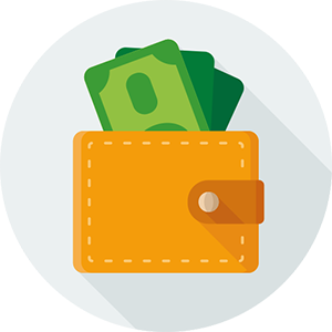 image of a wallet ful of money