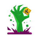 image of a zombie hand with the Kompare logo