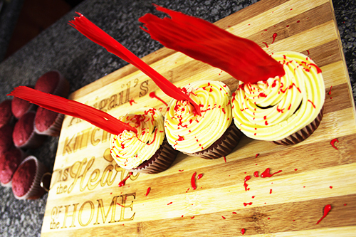 image of blood spatter cupcakes