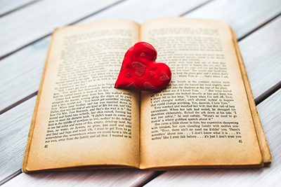 image of a heart in a book